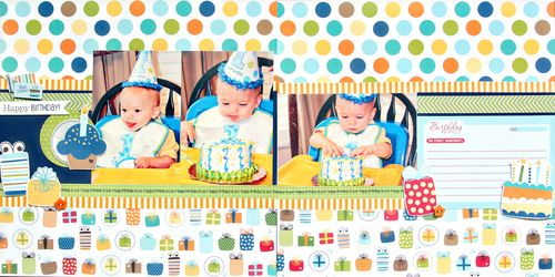 Happy Birthday Boy Double Page Layout Kit - $12.00